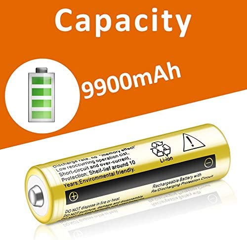 2 PCS 18650 Li-ion Rechargeable Battery 3.7V 9800mAh Rechargeable Batteries for LED Flashlight Headlamps Search Lamp/…