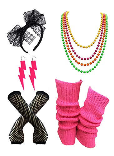 Women's Costume Accessories Set 80s Neon Fancy Outfit,Leg Warmers,Gloves,Earrings Hotpink S11 ()