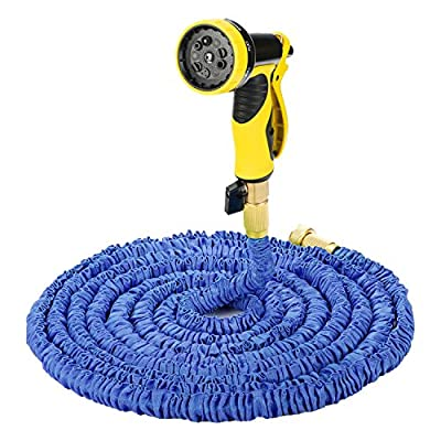 Evigreen 75FT Blue Expandable Garden Hose Durable Latex Hose Pipe Strongest Fabric Cover Brass Connector with 9 Pattern Spray Nozzle