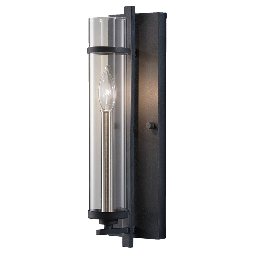 Murray Feiss WB1560AF/BS, Ethan Sconce, 60 Watts, Forged Iron/Brushed Steel    Clear Glass Iron Indoor Sconce   Amazon.com