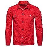 ZYooh Premium Men s Coat Autumn Winter Demin Jacket Tops Outwear (XL, Red)