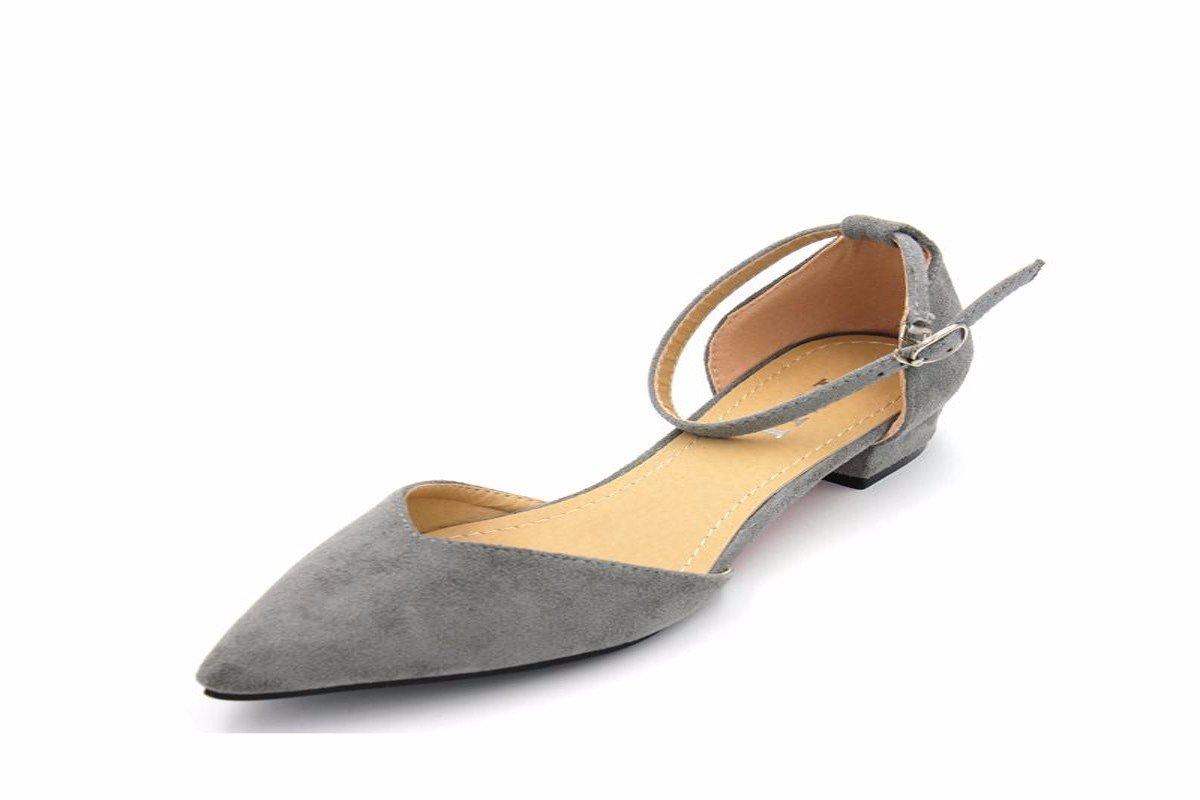 HBDLH Chaussures pour Femmes/Summer Fashion Velvet Creux Mince Faible Au Pied des Chaussures Chaussures De Gris Gris Clair.