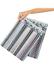 25 Pack Metallic Holographic Bubble Mailers 9.5 x 13.5 Bubble Lined Padded Envelopes 9 1/2 x 13 1/2 Silver Cushion Envelopes Peal and Seal. Adhesive Shipping Bags for Mailing, 9.5x13.5 25Pack AMZ#8