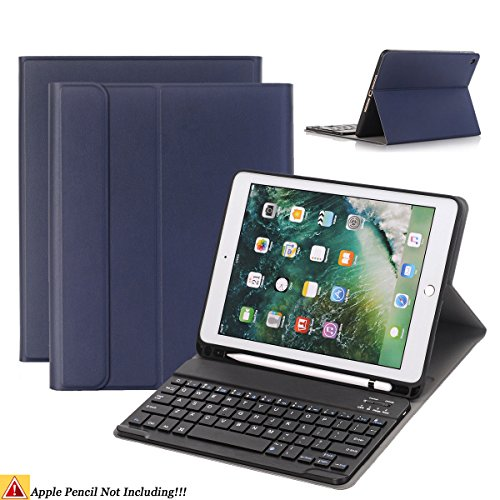 iPad 9.7/iPad Air Keyboard Case,Naswei Ultra-Slim Soft TPU Case Cover Built-in Pencil Holder with Removable Detachable Keyboard for 2018 6th 2017 5th Generation iPad 9.7