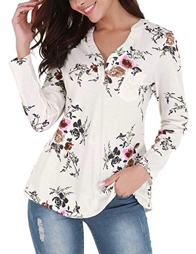 al Print Blouses Long Sleeve Casual V Neck Button Up T-Shirts Tops White XL ()