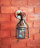 Industrial Wall Sconce Pipe Lighting w/ Blue Turquoise Mason Jar for Kitchen, Bathroom or Outdoor Lighting Sconces Steampunk - Black Cage - Modern Industrial Lighting Fixture, Farmhouse Light
