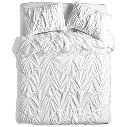 Creek Bedding Collection - The Pioneer Woman Ruched Chevron Duvet Cover for Full Queen and King (King 106x 94, White)