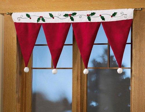 ABlevel Door Window Drape Panel Christmas Decorative Curtain Home House Decorations for Xmas Party New Year Santa Claus Hat Cap (Santa Claus Cap)