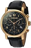 Wenger Men's 'Urban Classic Chrono' Swiss Quartz Gold-Tone and Leather Casual Watch, Color:Black (Model: 01.1043.107)