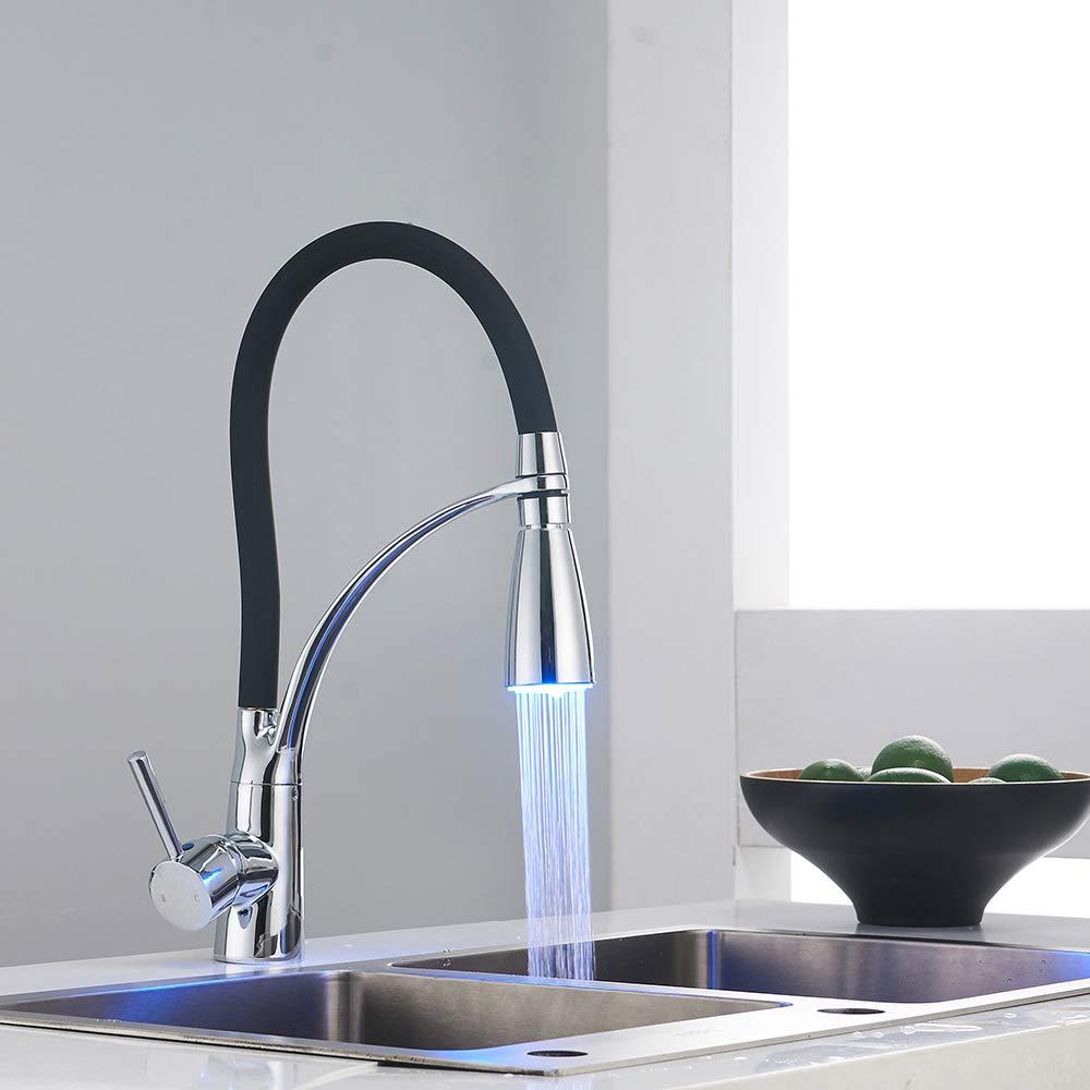 K/üchenhahn LED Alle Kupfer-Schwarz Lackierten K/üchenhahn Hei/ß Und Kaltwasser Hahn Mit Ausziehbarem Wasserhahn