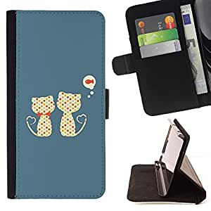 DEVIL CASE - FOR HTC Desire 820 - Cute Cats Cat Fish Pattern - Style PU Leather Case Wallet Flip Stand Flap Closure Cover