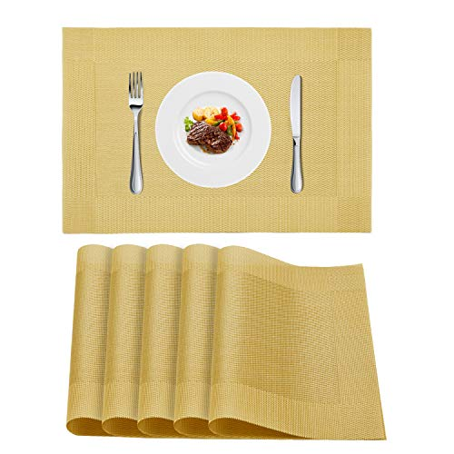 WLIFE Placemats, Heat-Resistant Placemats, Stain Resistant Washable PVC Table Mats, Cross Weave Non-Slip Vinyl Table Mats 18