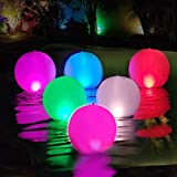 10. Cootway Swimming Pool Floating Lights Ball Inflatable, 14 Inch Solar & DC Powered IP68 Waterproof Hangable Rechargeable Color Changing & Steady Led Glow Orbs Pond Night Lamp for Garden,Backyard-1 PCS