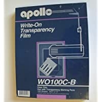 Apollo® Write-On Transparency Film 100 Sheets 8½x11 Use with Transparency Marking Pens