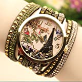 Retro Style Car Tower Pattern Accessories Wristwatch Bracelet