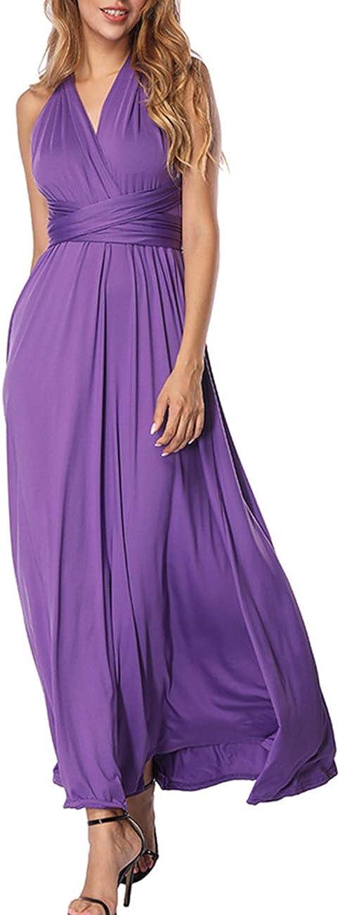 TALLA L(ES 44-46). FeelinGirl Mujer Vestido Maxi Convertible Espalda Decubierta Cóctel Multiposicion Tirantes Multi-Manera Largo Falda para Fiesta Ceremonia Sexy y Elegante Violeta L(ES 44-46)