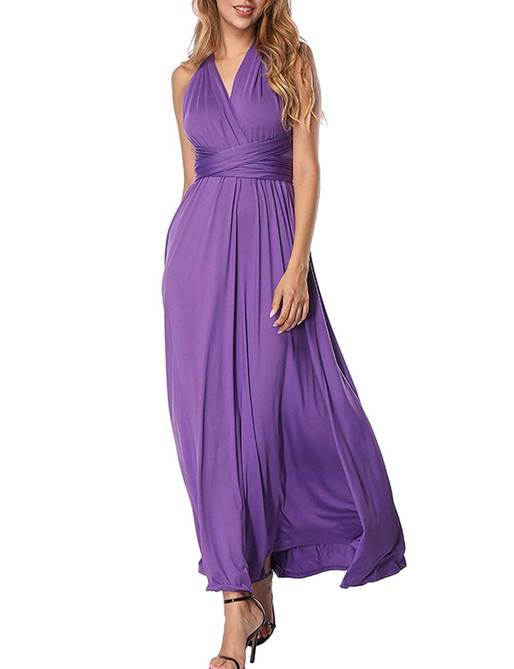 TALLA M(ES 40-44). FeelinGirl Mujer Vestido Maxi Convertible Espalda Decubierta Cóctel Multiposicion Tirantes Multi-Manera Largo Falda para Fiesta Ceremonia Sexy y Elegante Violeta M(ES 40-44)