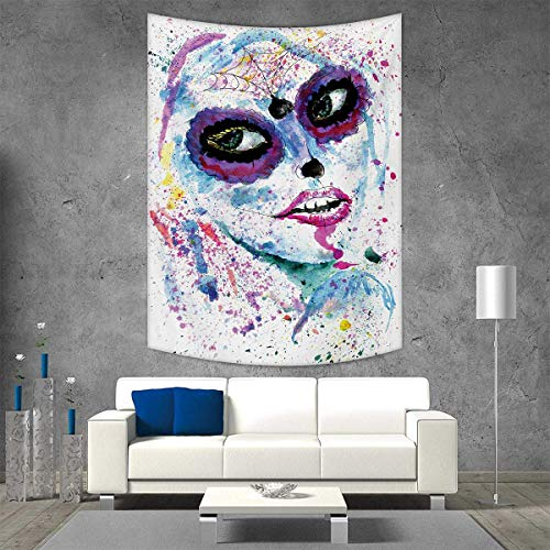 Girls Home Decorations for Living Room Bedroom Grunge Halloween Lady with Sugar Skull Make Up Creepy Dead Face Gothic Woman Artsy Wall Art Home Decor 51W x 60L INCH Blue Purple