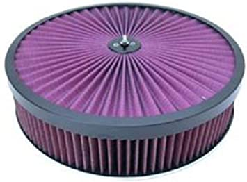 """14/"""" x 3/"""" Chrome Steel Air Cleaner Kit w// Washable Filter Flat Base /& Wing Nut"""