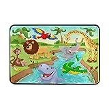 My Little Nest Cartoon African Jungle Animals Kids Playroom Floor Mat Non Slip Soft Bedroom Door Mat Classroom Rug Carpet 23.6''x 15.7''