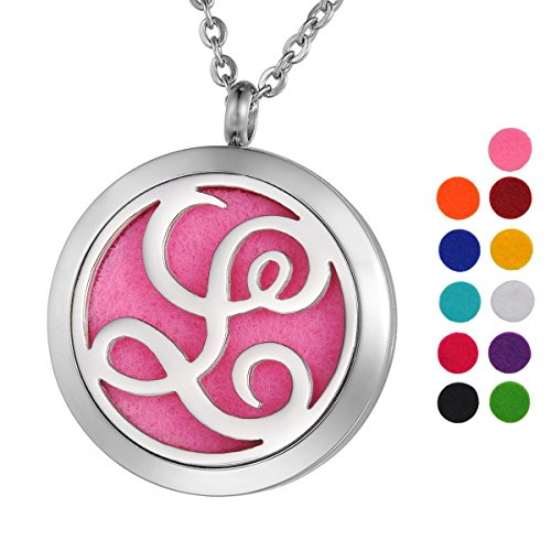 VALYRIA Monogram L Aromatherapy Essential Oil Diffuser Necklace-Stainless Steel Letter Locket Pendant with 11 Refill Pads