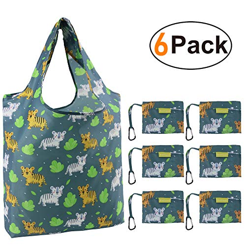 Reusable-Grocery-Bags-Foldable-Bag Shopping Totes Bag Grocery Bag Large 50LBS Cute Reusable Bags Groceries with Square Pouch Bulk 6 Pack Ripstop Fabric Machine Washable Durable Lightweight]()