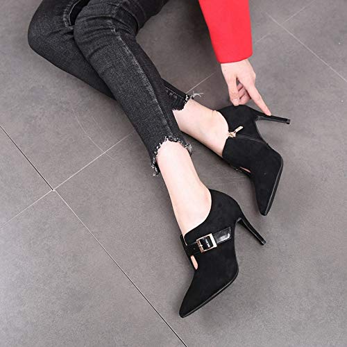 8Cm Belt High Boots Single Autumn Temperament Slim Thin Boots Heels Heels Hollowed Spring Toed Tip LBTSQ Buckles Out Bare Black Short And Boots Boots FxvppP