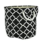 "DII Collapsible Polyester Storage Basket or Bin with Durable Cotton Handles, Home Organizer Solution for Office, Bedroom, Closet, Toys, Laundry (Large Round – 15x16""), Black Lattice"