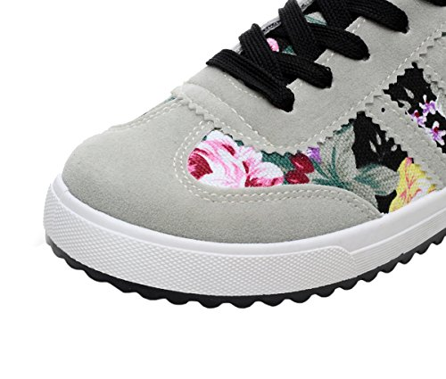 XIAXIAN Spring And Summer Korean Style Lace-up Sweet Flower Breathable Sports Shoes(5 B(M) US, Black)