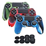 YoRHa Studded Silicone Cover Skin Case for Sony PS4/slim/Pro controller x 3(camouflage red+camouflage blue+camouflage green) With Pro thumb grips x 8