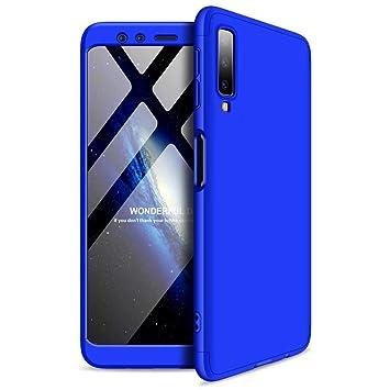 JINCHANGWU Compatible con Funda Samsung Glaxy A7 2018, Carcasa Samsung Glaxy A7 2018 con [ Cristal Templado] Carcasa 3 en 1 Caso, Azul
