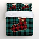 Libaoge 4 Piece Bed Sheets Set, Green Red Black Buffalo Check Plaid Christmas Sock, 1 Flat Sheet 1 Duvet Cover and 2 Pillow Cases