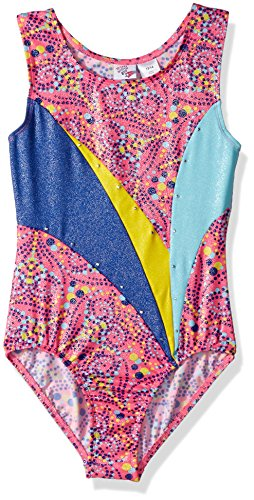 Jacques Moret Big Girls' Fun Gymnastics Leotard, Dotted Hearts Printed, Large by Jacques Moret