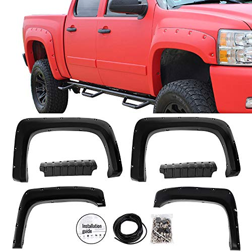 Fender Flares Fits 2007-2014 Chevy Silverado | Pocket Rivet Style Black ABS Plastic Textured Front Rear Right Left Wheel Cover Protector Vent Trim by IKON MOTORSPORTS | 2008 2009 2010 2011 2012 2013