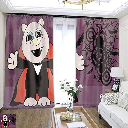 Curtain lace Cute Little Pig Hug Dracula Costume Halloween backgorund W96 x L72 Insulated Room Shades Highprecision Curtains for bedrooms Living Rooms Kitchens etc.]()