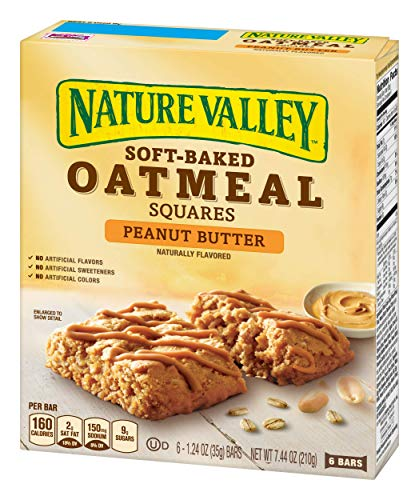 NAT VAL SOFT BAKED SQUARES 6 Piece Peanut Butter Soft-Baked Oatmeal Squares, 7.44 Ounce (1 Pack of 6 bars) ()