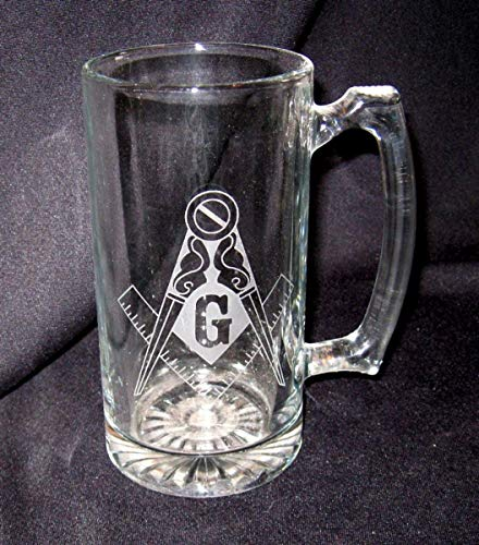 25 OZ Etched Glass Sport Stein Masonic Square and Compass