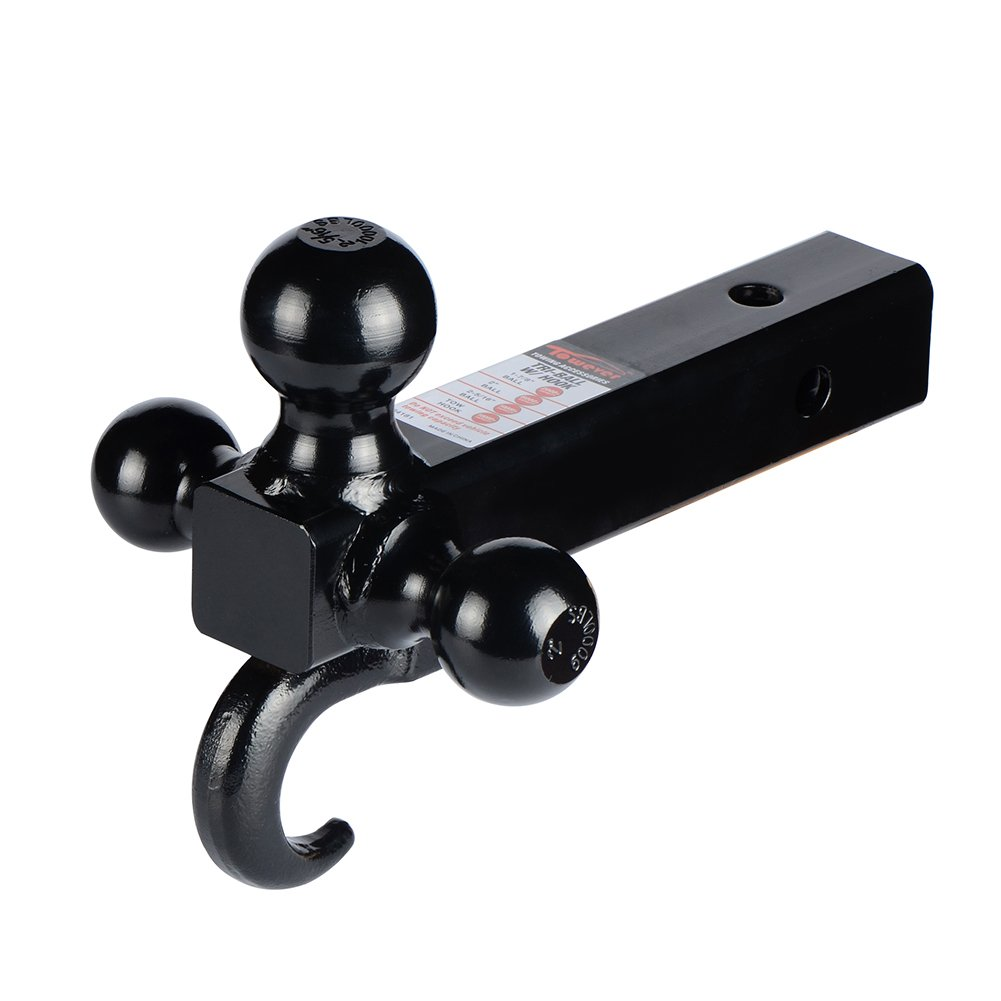 Towever 2 Class III//IV Trailer Hitch Tri Ball Mount with Hook 2 in Shank for Pickup Truck Hitch Receiver Black, Hollow Shank