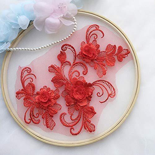 3D Embroidery Flower Lace Bridal Applique Pearl Beaded Tulle DIY Wedding Dress (Color - Red) ()