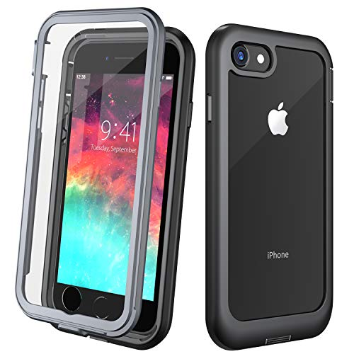 Justcool Clear Designed for iPhone 8 Case, Designed for iPhone 7 Case, Full Body with Built-in Screen Protector Heavy Duty Protection Slim Fit Cover for Apple iPhone 7/8 (2016/2017) 4.7 Inch - Black