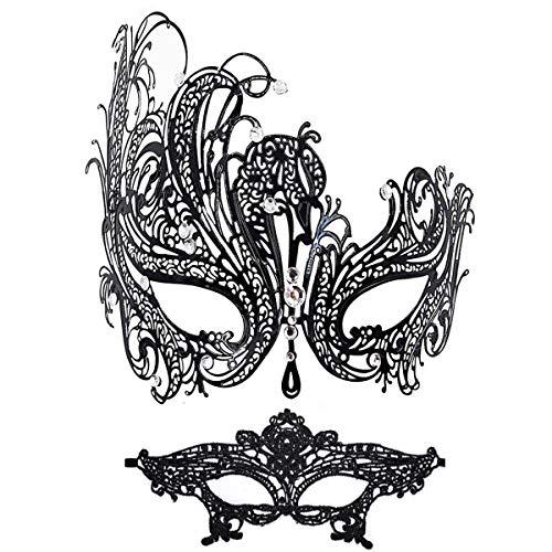 Masquerade Mask Women Shiny Rhinestone Venetian Party Prom Ball Metal Mask (Queen)