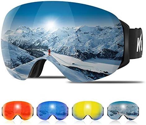KUYOU Ski Goggles Men Women, Large Spherical Frameless Snow Goggles Interchangeable Lens OTG Double Lens Snowboard Goggles Anti-Fog Shatterproof 90 Bendable UV400 Protection