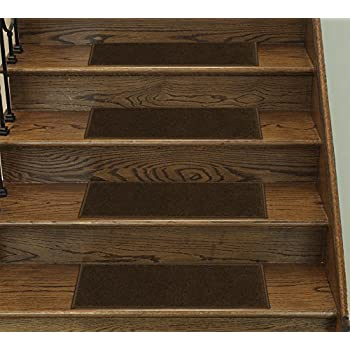 Casatreads Brown 14 Piece Stair Tread Set   Non Slip Rubber Backed Stair  Mats (9