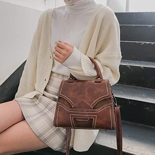 Black Color : Brown Minyangjie Fashion Tote Bag Great Retro Casual Single Shoulder Bag Sewing Stitch Ladies Messenger Handbag