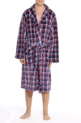 FollowMe-Printed-Plaid-Velour-Flannel-Robe-Robes-for-Men