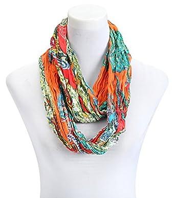 9efafaa1e581 écharpe femme tube loop foulard orange paisley  Amazon.fr  Vêtements ...