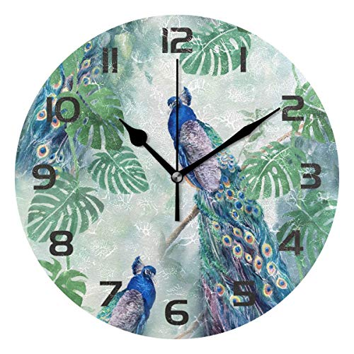 Dozili Animal Peacock Decorative Wooden Round Wall Clock Arabic Numerals Design Non Ticking Wall Clock Large for Bedrooms, Living Room, Bathroom ()