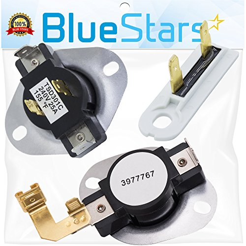 3387134 & 3392519 & 3977767 Dryer Thermostat and Dryer Thermal Fuse Replacement kit by Blue Stars  Exact Fit For Whirlpool & Kenmore Dryers