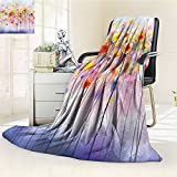 YOYI-HOME Digital Printing Duplex Printed Blanket in Soft Colors and Floral Design Blurred Style Accessories Navy Red Orange Summer Quilt Comforter /W47 x H79