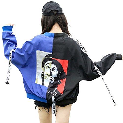 Men Bomber Sleeve Blue Hip Tops Jacket Autumn Long Couple Acereima Spring Hop Jacket Bomber Women Kidly Zw4qTYnvxO